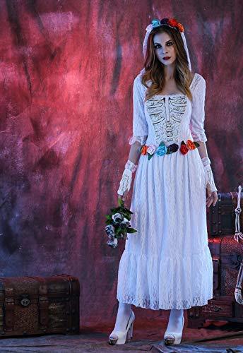 Weiß Kostüm Tüll Ghost - JRKJ Spiel Uniform Halloween Weiß Tüll Ghost Bride Stage Game Uniform @ L