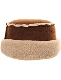 BROWN SHEEPSKIN EFFECT FLAT TOP PILLBOX HAT FLEECE TRIM & LINING