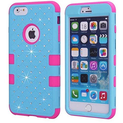 iPhone 6S Case, iPhone 6 Bling Case, Lantier [Disque souple Tough] concepteur Crystal Bling hybride Cover Case Armure pour iPhone 6, iPhone 6S 4,7 pouces rose + blanc Crystal Bling Hot Pink+Blue