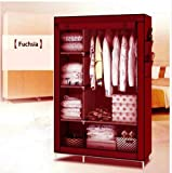 #9: GTC 4+1+1 Layer Fancy And Portable Foldable Closet Multipurpose Wardrobe (Need To Be Assembled) 105Nt (Maroon)