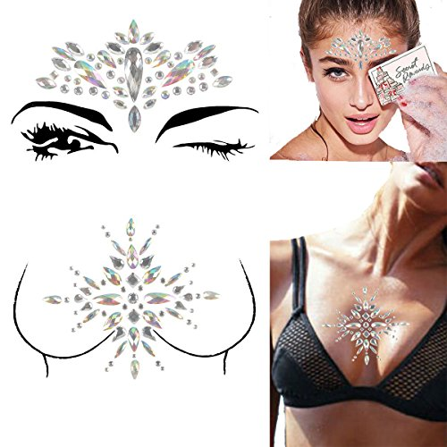 FENGLANG Gesicht Strasssteine-Körper Sticker-Acryl Schmucksteine Glitzersteine-Glitter Aufkleber Tattoo-Face Tattoo Crystal Stickers für Glitzer Effekt, Parties, Shows und Make-up (#23) (Sticker Make-up)