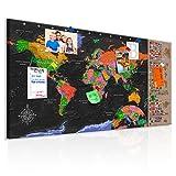 decomonkey | Weltkarte Pinnwand 90x45 cm | Leinwand | Bilder | Leinwandbilder | Fertig aufgespannt auf dicker 10mm Holzfasertafel | Aufhängfertig | Auch als Korktafel nutzbar