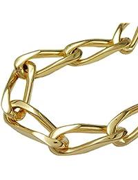 Halskette Kette Weitpanzer 4x Oberfläche diamantiert Karabiner-Verschluß gold-plattiert 50cm 202006-50