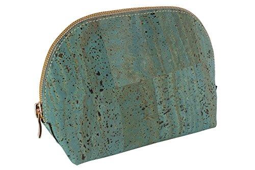 Neceser / Estuche de maquillaje marca SIMARU – Hecho de corcho / piel de corcho vegana - ideal como bolsa para cosméticos. Color Azul