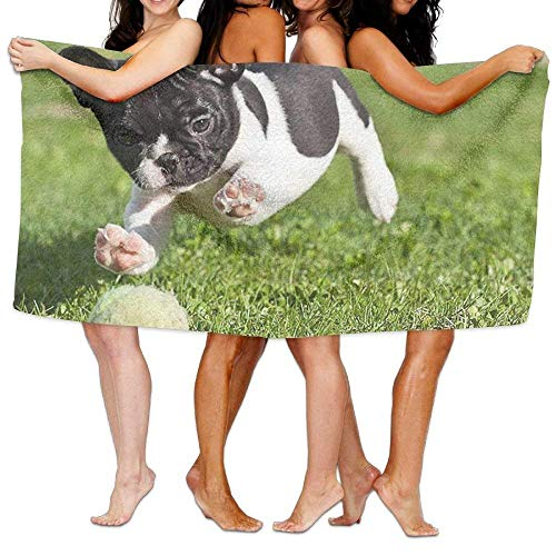 fregrthtg Unisex French Bulldog Playing with Ball Beach Towels Washcloths Bath Towels for Teen Girls Adults Travel Towel Pool and Gym Use 31x51 inches