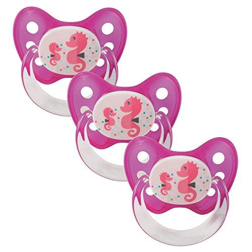 Dentistar® Silikon Schnuller 3er Set - Beruhigungssauger, Nuckel, Nuggi, Größe 2, 6-14 Monate - zahnfreundlich & kiefergerecht   Seepferdchen