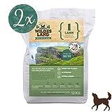 Wildes Land | Trockenfutter für Hunde | Nr. 1 Lamm | 24 kg | mit Reis und Wildkräutern | Glutenfrei & Hypoallergen | Extra viel Fleisch | Für alle Hunderassen | Beste Akzeptanz und Verträglichkeit