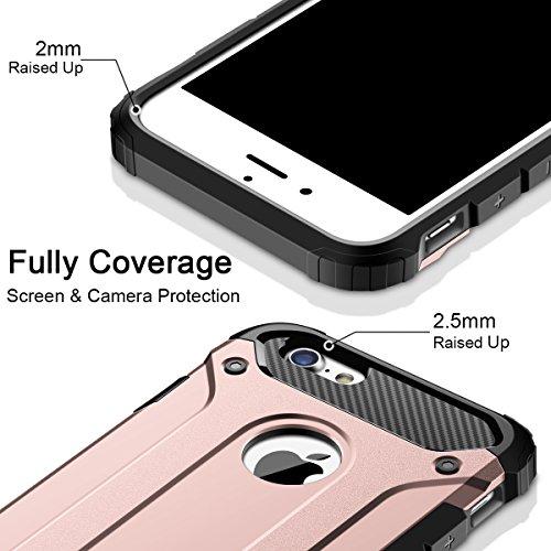 iPhone 7 Hülle, Coolden Premium Outdoor Stoßfest Case Doppelte Schutz Soft Flex Silikon TPU Schale + Hard PC Bumper Cover Chic Armor Schutzhülle für iPhone 7 Handyhülle iPhone 7 Case (Schwarz) Rose Gold