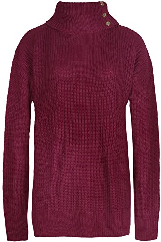 Fashion Star Damen Pullover *, Rot - Ribbed Knit Striped Sweater