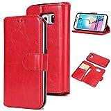 UEEBAI Handyhülle für Galaxy S6 Edge,Premium PU-Leder Wallet Schutzhülle [Abnehmbar] [Magnetverschluss] [Kartenslots] Standfunktion Voller Schutz Flip Cover für Samsung Galaxy S6 Edge - Rot
