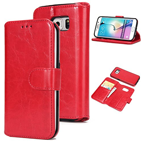 BCIT Samsung Galaxy S6 Edge Leder Handytasche - Geldbörse mit Kartenfach abnehmbar Magnet Handy Schutzhülle für Samsung Galaxy S6 Edge - Braun Rot
