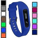 Bracelet DelTex avec fermeture à boucle réglable sécurisée pour montre d'activité Fitbit One, bleu mer