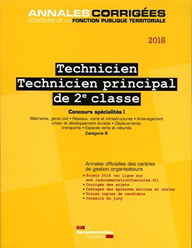 Technicien, technicien principal de 2e classe : Concours externe, interne et 3e concours spécialités I