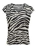 ONLY NOS Damen T-Shirt onlSILVERY Leo S/S V Neck Lurex TOP NOOS Mehrfarbig (Silver AOP: Zebra Print) 34 (Herstellergröße: XS)