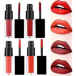 4 couleurs/ensemble rouge à lèvres métallisé mat imperméable à l'eau de longue durée non-collant pour les lèvres, cosmétique pour les lèvres(02)