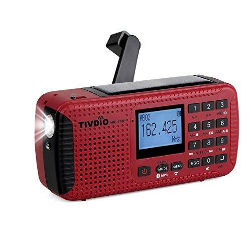 Tivdio HR-11W Radio Dynamo Tragbares Kurbel Solar Radio Notfall Kofferradio AM FM NOAA Weltempfänger mit USB Powerbank Wireless MP3 Player Digitaler Recorder Taschenlampe SOS Camping Outdoor Survival(Rot)