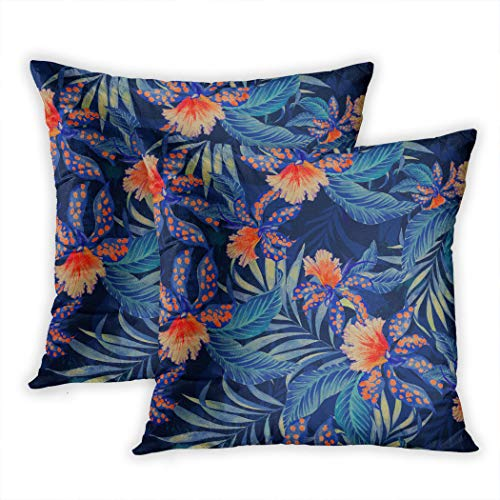 Nekkzi Cushion Covers Set of Two Print Tropical with Double Exposure Effect Exotic Lilies Orchids and Palms in Vintage Sofa Home Decorative Throw Pillow Cover 16x16 Inch Pillowcase Hidden Zipper Orchid Print Dress