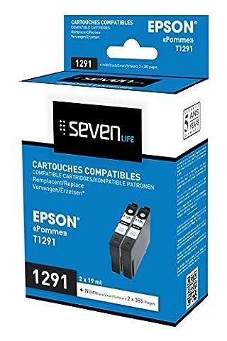 Seven Life compatible Epson POMME t1291 bk Pack de 2 cartouches