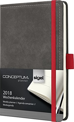 Preisvergleich Produktbild Sigel C1858 Wochenkalender 2018, ca. A6, Hardcover, Vintage, Leder-Optik dunkelgrau, CONCEPTUM - auch in A5