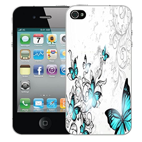 Nouveau iPhone 4s clip on Dur Coque couverture case cover Pare-chocs - cheerful floral Motif avec Stylet blue winged butterfly