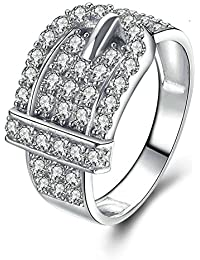 Beydodo Frauen Ringe Silber 925 Gürtel Weiß Zirkonia Rund Verlobungsring  Silberring dd9276aba8