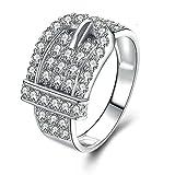 Beydodo Damen Ring Silber 925 Eckig Gürtel Weiß Zirkonia Rund Eherring Verlobungsring Silber Gr.62 (19.7)