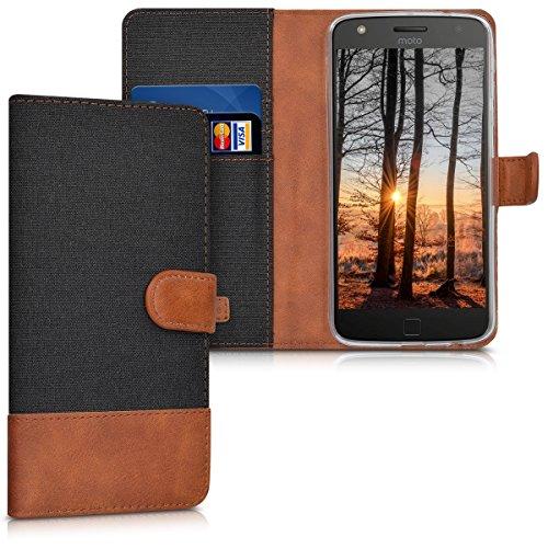kwmobile Motorola Moto Z Play Hülle - Kunstleder Wallet Case für Motorola Moto Z Play mit Kartenfächern & Stand