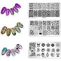 Rocita Plantillas Manicura,Estampación de Uñas Placas de Clavo de metal Nail Art Plates esmaltes uñas de sello Plantilla Tattoo Decoración de uñas(3pcs)