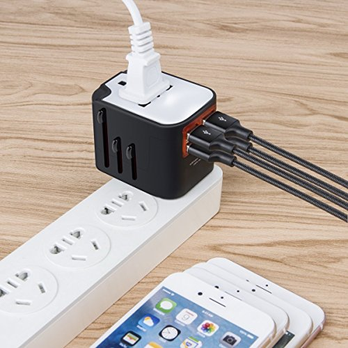 International Travel Adapter, Worldwide Travel Charger con 4 puertos USB Power Converters para EU, UK, EE. UU., AU, Europa y Asia, All-in-one Universal Wall Plug Multi-Outlets Adaptador eléctrico