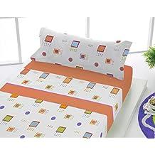 Sabanalia - Juego de sábanas franela Adele (disponible en varios colores y tamaños) - Cama 105, naranja