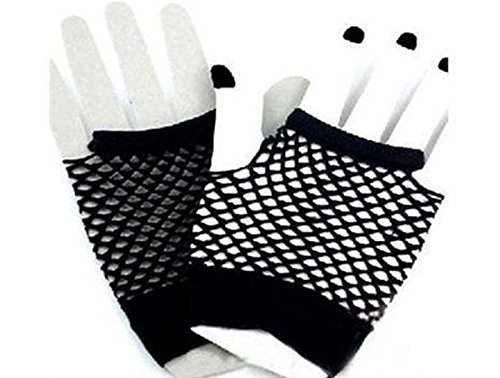 Short Black Fishnet Net Gloves Halloween Accessory Long Netted Gloves by Zach Fashions 5060430993711