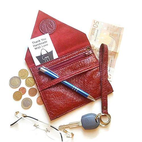 Portafoglio in pelle struzzo qualità artigianale italiana Ganza on Amazon colore rosso