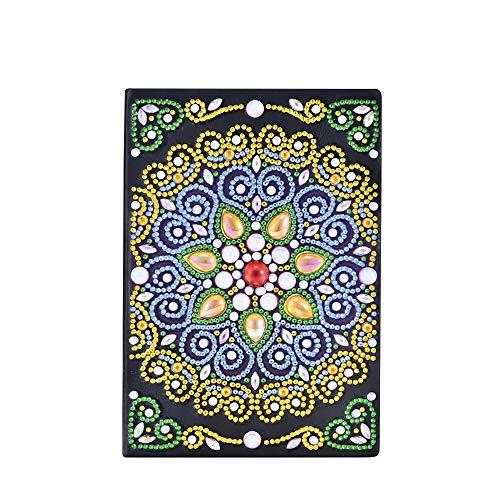 Cahiers de peinture de diamant DIY A5 blanc, carnets de croquis de journal intime pour adultes carnet de notes art de diamant A5 avec cadeau créatif coloré de diamant 5D pour Noël Mandala