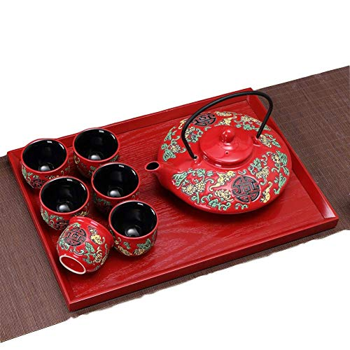 qwert Teetasse Satz, Chinese Traditional Wedding Tea Set Rot Cup Keramikplatten Kung Fu Tea Set Neues Zuhause 1 Teekanne 4 Tassen 1 Teeplatte-e