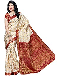 Mimosa Kanchipuram Tassar ART Silk Saree White(3050-65-HLFWHITEMARUN)