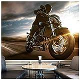 azutura Motorrad Fototapete Stürmischer Himmel Tapete Jungen Schlafzimmer Haus Dekor Erhältlich in 8 Größen XXX-Groß Digital