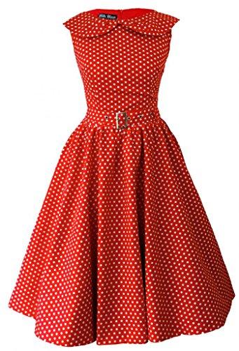 1950s 1960s Vintage rétro à pois avec nœud en tulle Robe de soirée Rouge - Rouge