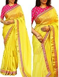 G Stuff Fashion Women Chanderi Silk Saree with Blouse piece_SE_Yellow_Saree_02