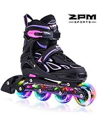 2pm Sports Vinal Size Patins en ligne réglables en violet, roues LED spéciales, Rollers en ligne amusants pour filles, enfants et femmes, Start Skating Today!