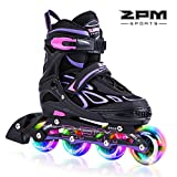 2PM SPORTS Vinal Adjustable Light up Inline Roller Skates for Boys and Girls - Violet L(38-41)