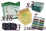 Sacchetti in Carta Naturale per Folletto Vorwerk vk130 - vk131 + Profumini Multifragranza + Filtro Carboni + Filtro Hepa (18 Sacchetti + 20 Profumini + 3 Carboni + 3 Hepa)