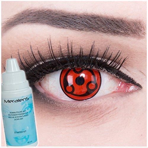 al Madara Kontaktlinsen mit Pflegemittel mit Behälter ohne Stärke, 1er Pack (1 x 2 Stück) (Ash-halloween-kostüm)