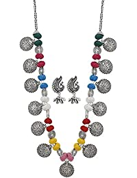 Andaaz High Finished Silver Designer Multi Colour Thread Dandiya Necklace With Earrings For Women And Girls