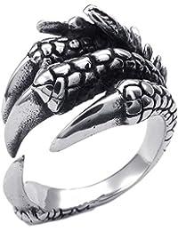 KONOV Schmuck Herren-Ring, Edelstahl, Gotik Gotik Drachen Klaue, Schwarz Silber