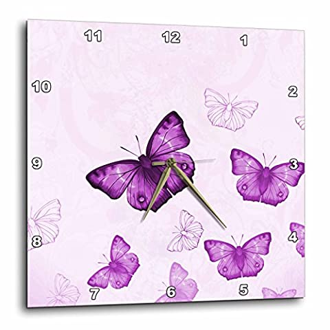 3dRose dpp_112029_3 Pretty Purple Flying Butterflies Pattern with Butterfly Silhouettes Wall Clock, 15 by