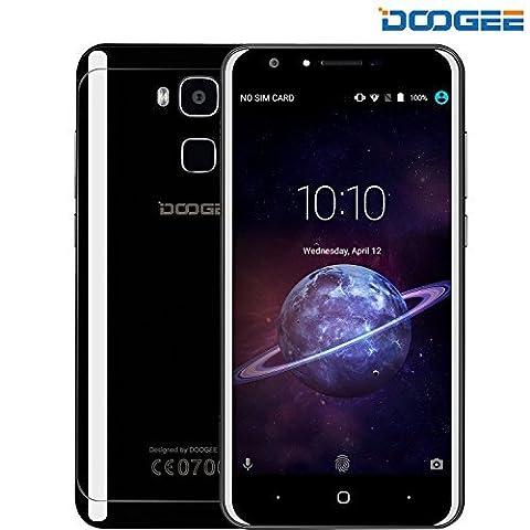 Telephone Portable Debloqué, DOOGEE Y6 Piano Black, Android 6.0 Smartphone 4G, 5.5 Pouces FHD Sharp Écran, Double SIM, 13MP + 8MP Caméras Avec Flash, 4Go + 64Go, MTK6750 Octa-Core, Empreinte Digitale - Noir