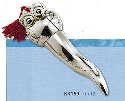 Kikke corno gufo portafortuna argento cm12 con nappina e inserti dorati laminato argento made in italy
