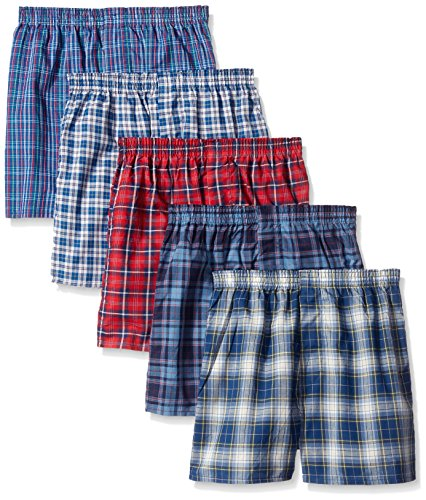 Fruit of the Loom Lot de 5 caleçons assortis motif tartan pour garçon, Assorted Tartan, X-Larg