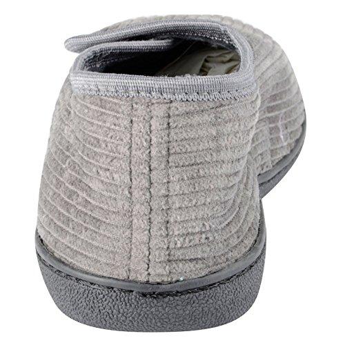 Herren Cord-Hausschuhe, einfacher Haftverschluss, mit Öffnung vorne und harter rutschfester TPR-Sohle Grau