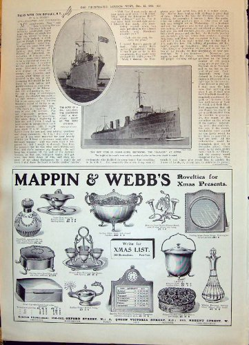 Zerstörer-Schiff Ure-Sarazene Cowes-Anzeige 1908 Mappin Webb London Paris